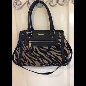 Dana Buchman Zebra Bag, Large, Black & Tan